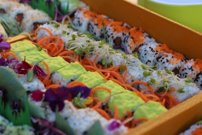 Detalle de las piezas de sushi